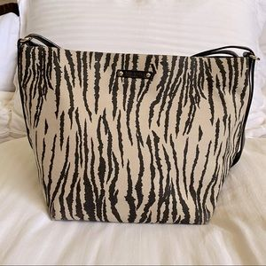 KATE SPADE Zebra Print Canvas Hand Bag